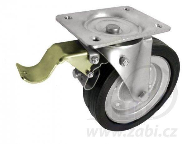 Gumové koleso 200 mm otočná vidlica s doskou