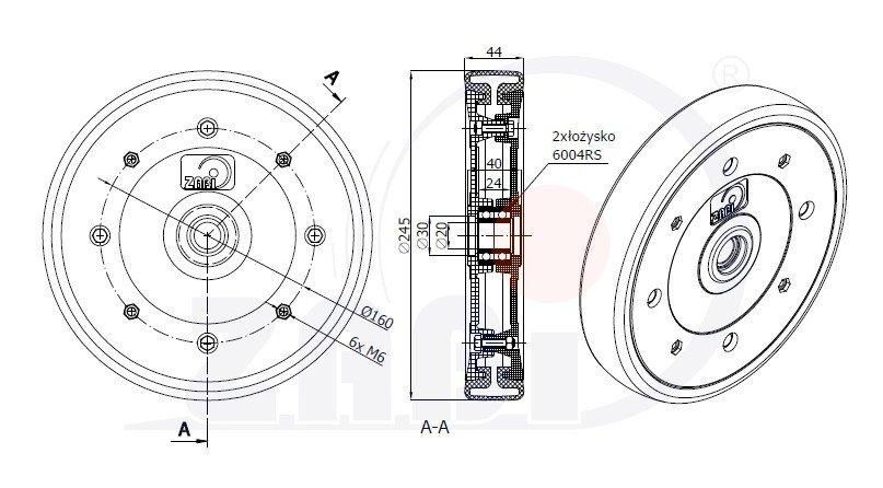 Zatláčacie integrované koliesko sejacieho stroja 250mm