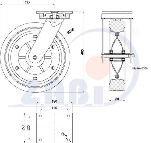 Gumové koleso 350 mm otočná vidlica s doskou