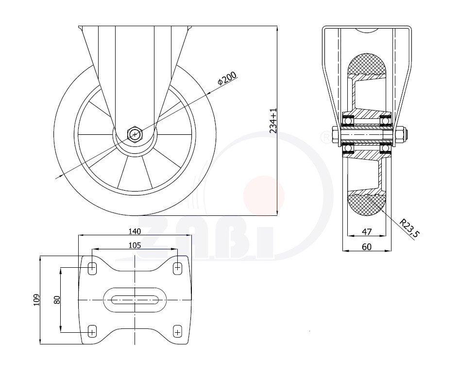 Polyuretánové koleso pre ľahkú manipuláciu - pevná vidlica