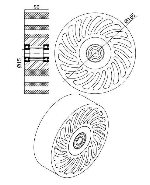 Polyuretánové koleso NO CRUSH 165 mm s ložiskom