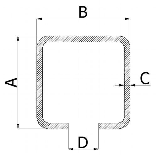 Nosný C profil pre posuvnú bránu 20mm dľžka 3 metrov
