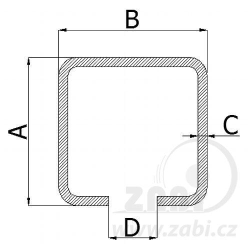 Nosný C profil pre posuvnú bránu 60mm dľžka 6 metrov