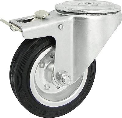 Gumové koleso 125 mm otočná vidlica s otvorom