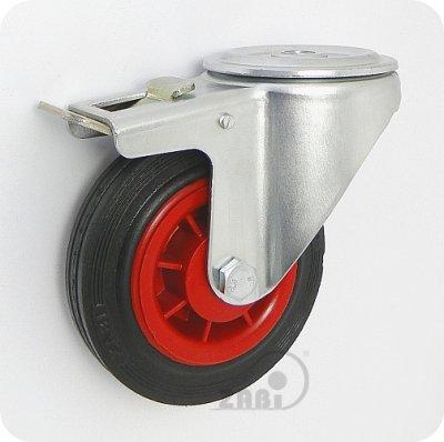 Gumové koleso 100 mm otočná vidlica s otvorom